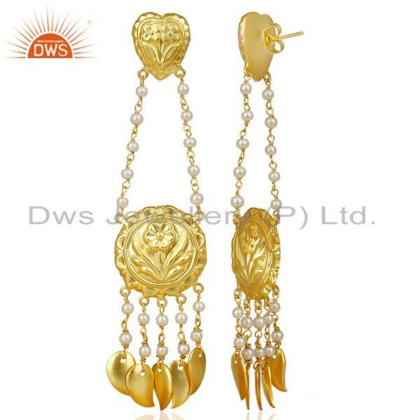 Exporter Pearl Strings 18k Gold Plated Traditional Brass Jewellery Chandelier Earring