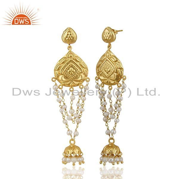 Exporter Pearl Jhumka 18K Yellow Gold Plated Fashion Earrings Traditional Jewelry