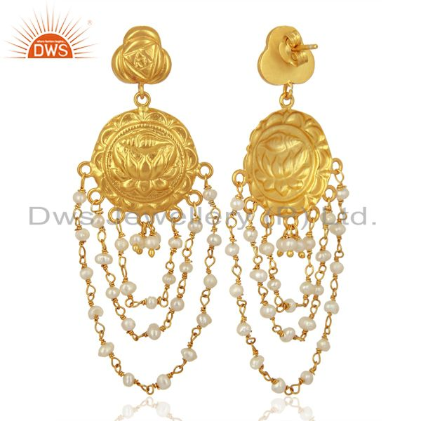 Exporter Draping Pearls 925 Sterling Silver 14K Yellow Gold Plated Chandelier Earrings