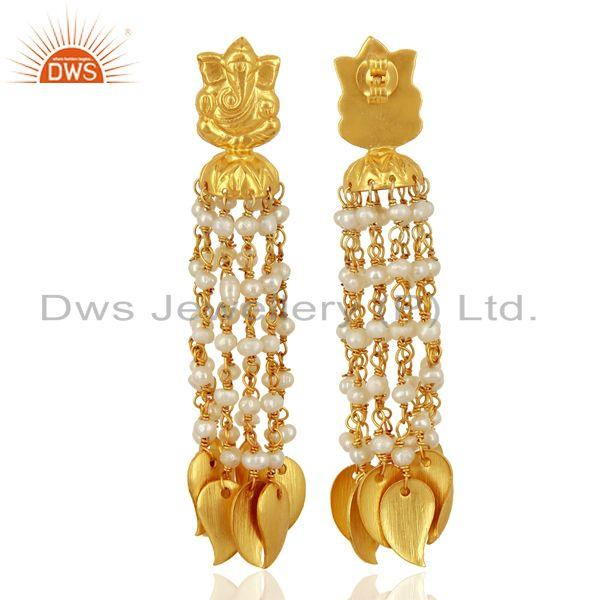 Exporter Pearl Temple Brass 18K Yellow Gold Plated Earring Traditional Jewellery