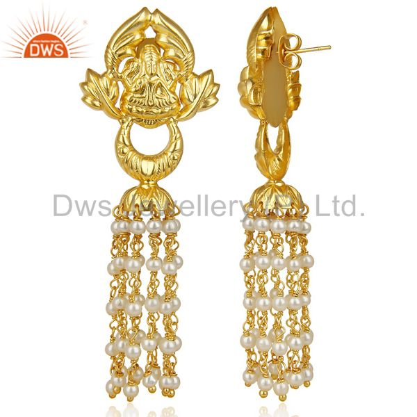 Exporter Pearl Temple 18K Yellow Gold Plated Brass Traditional Jewellery Earring