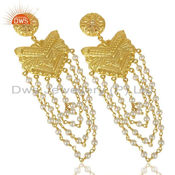 Exporter 14K Yellow Gold Plated Natural Pearl Party Wear Jhumka Earrings Jewelry