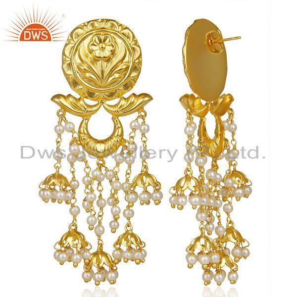 Exporter Pearl Jhumka 18K Gold Plated Brass Earrings Traditional Jewellery