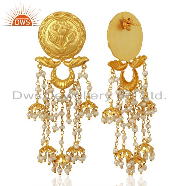 Exporter Pearl Jhumka Sterling Silver 18K Gold Plated Earrings Traditional Jewellery