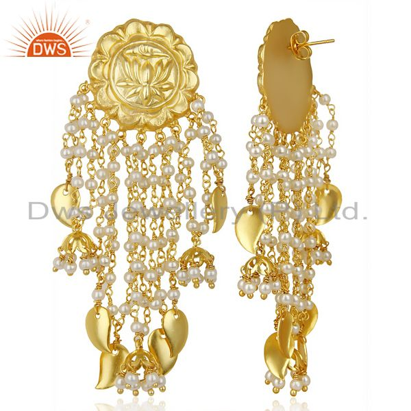Exporter 14K Gold Plated Handmade Lotus Carving Pearl Chandelier Fashion Earring Jewelry