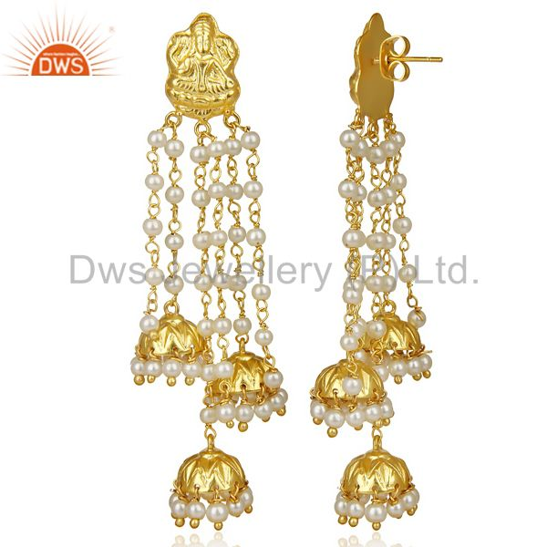 Exporter Pearl Temple 18K Yellow Gold Plated Brass Traditional Jewellery Earrings