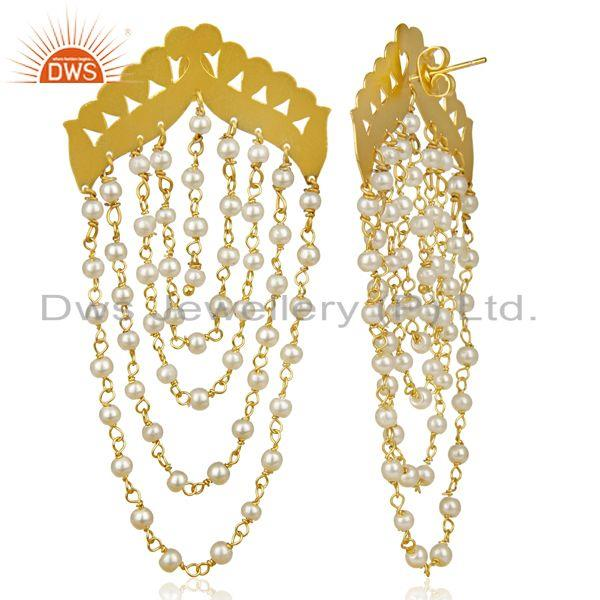 Exporter Pearl Chandelier 18K Yellow Gold Plated Fashion Earrings Traditional Jewelry
