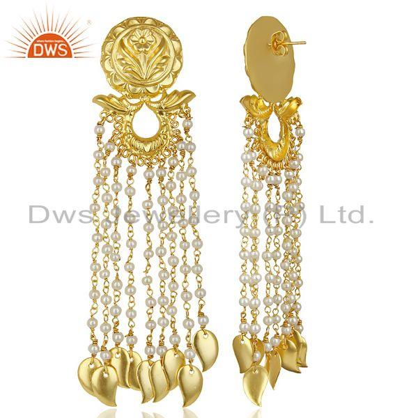 Exporter 14K Gold Plated Flower Carving Natural Pearl Chandelier Fashion Earring Jewelry