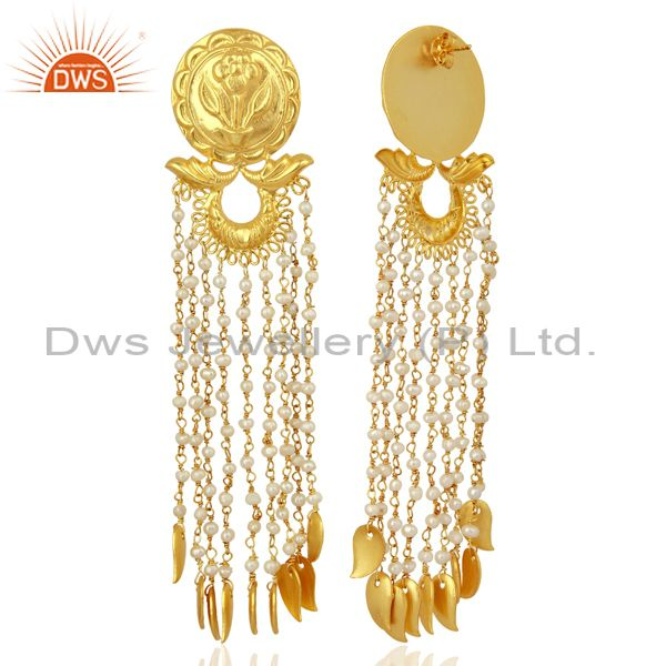 Exporter Pearl Chandelier 18K Gold Plated Sterling Silver Traditional Earrings Jewelry
