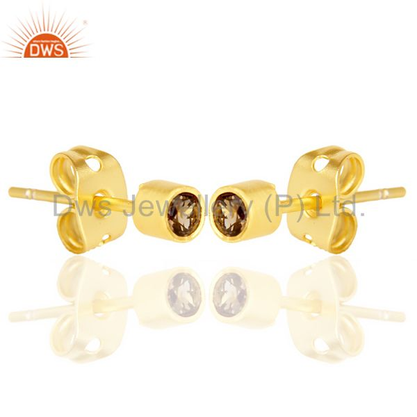 Exporter Smoky Topaz Tiny 3MM Post 14 K Gold Plated Fashion Earring,Quete Earrings