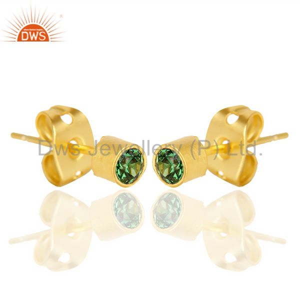Exporter Green Zircon Tiny 3MM Post 14 K Gold Plated Fashion Earring,Quete Earrings