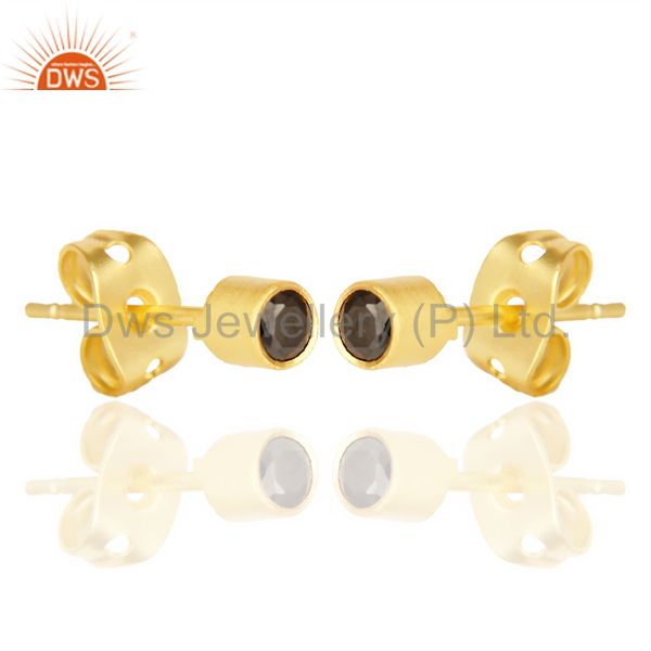 Exporter Black Zircon Tiny 3MM Post 14 K Gold Plated Fashion Earring,Quete Earrings