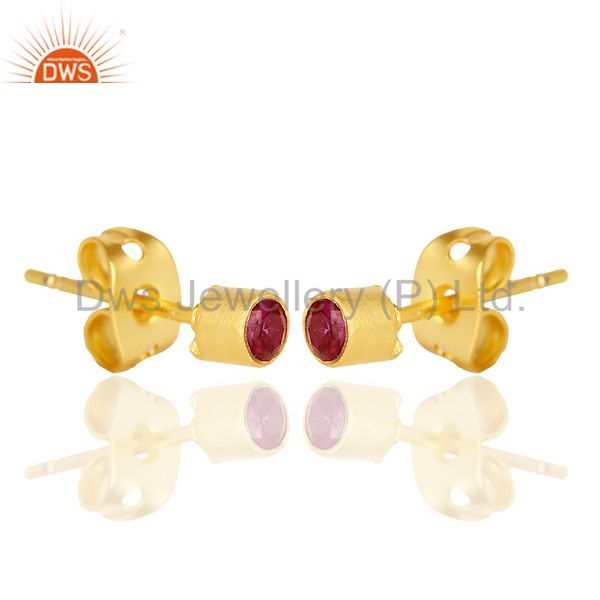 Exporter Red Zircon Tiny 3MM Post 14 K Gold Plated Fashion Earring,Quete Earrings