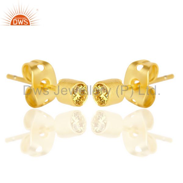 Exporter Yellow Zircon Tiny 3MM Post 14 K Gold Plated Fashion Earring,Quete Earring