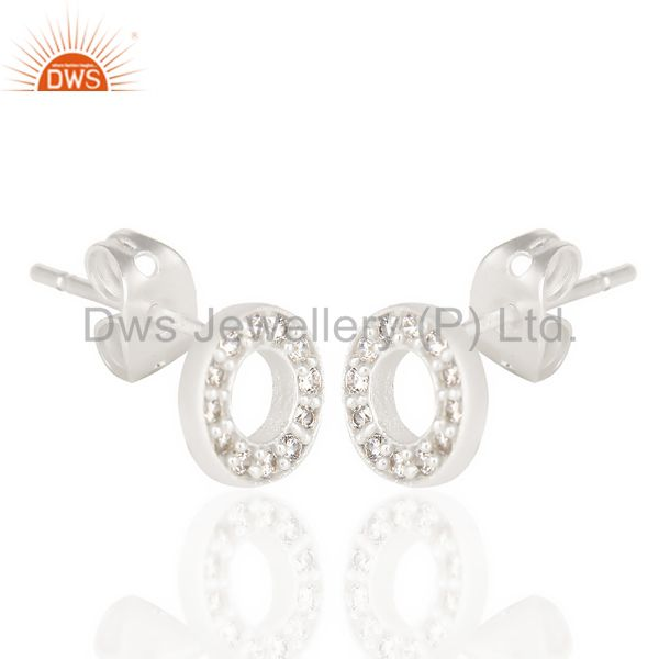 Exporter White Cz Circle Post Silver Plated Fashion Earring