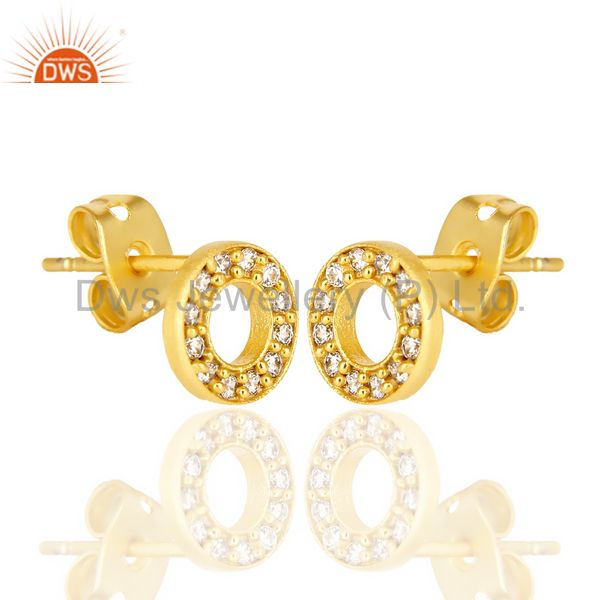 Exporter White Cz Circle Post 14 K Gold Plated Fashion Earring