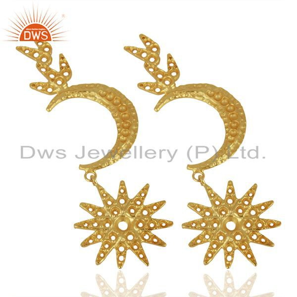 Exporter Indian Traditional Moon Design Gold Plated Brass Fashion Earrings