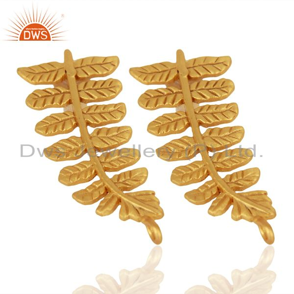 Exporter Handmade Leaf Design 18K Yellow Gold Plated Brass Stud Earrings Jewelry