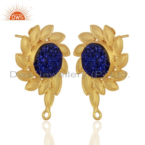 Exporter Blue Druzy Stud 18K Yellow Gold Plated Brass Earrings Fashion Jewelry