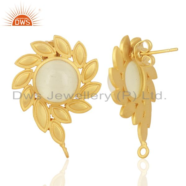 Exporter White Moonstone Stud 18K Yellow Gold Plated Brass Earrings Fashion Jewelry