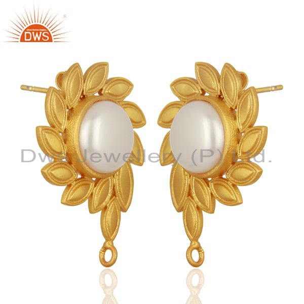 Exporter Pearl Stud 18K Yellow Gold Plated Brass Designer Earrings Fashion Jewelry