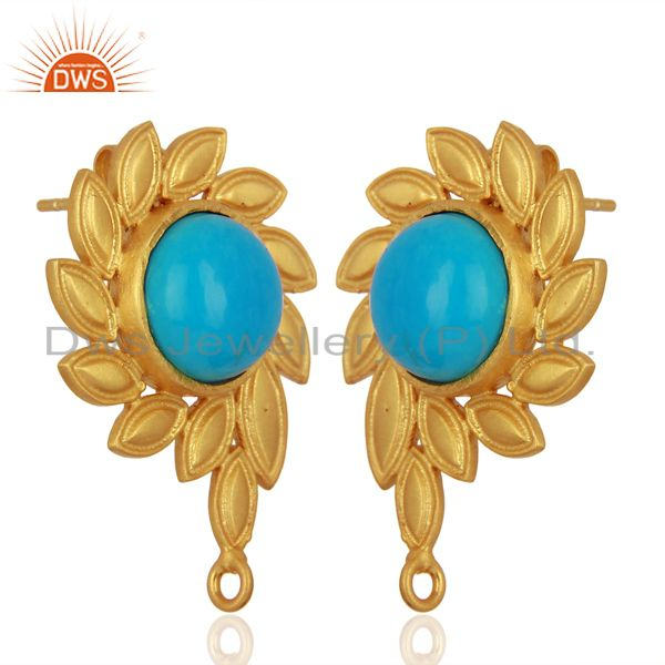 Exporter Turquoise Stud 18K Yellow Gold Plated Brass Earrings Fashion Jewelry