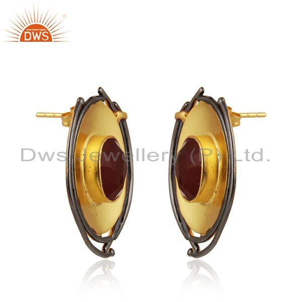 Exporter Red Onyx Gemstone Oval Shape Brass Fashion Stud Earrings Jewelry