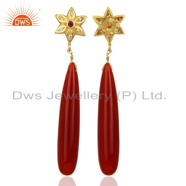 Exporter Red Onyx CZ Dangle 18K Yellow Gold Plated Brass Earrings Gemstone Jewelry