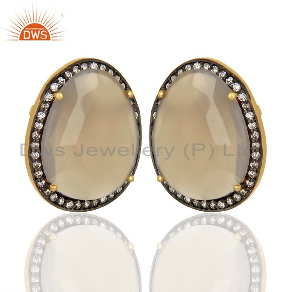 Exporter Grey Chalcedony CZ Stud 18K Yellow Gold Plated Brass Earrings Gemstone Jewelry