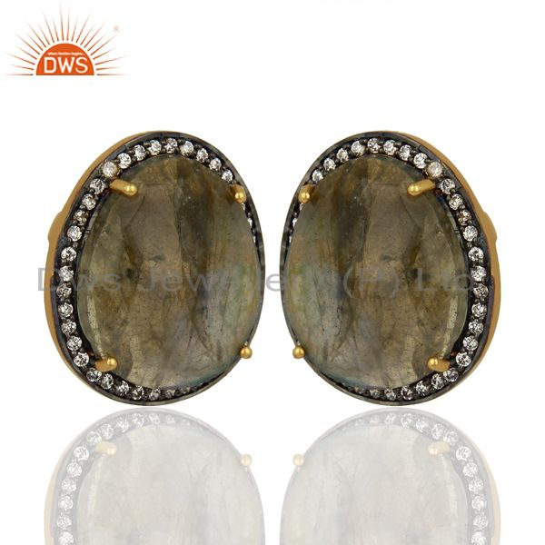 Exporter Labradorite CZ Studs 18K Yellow Gold Plated Brass Earrings Gemstone Jewelry