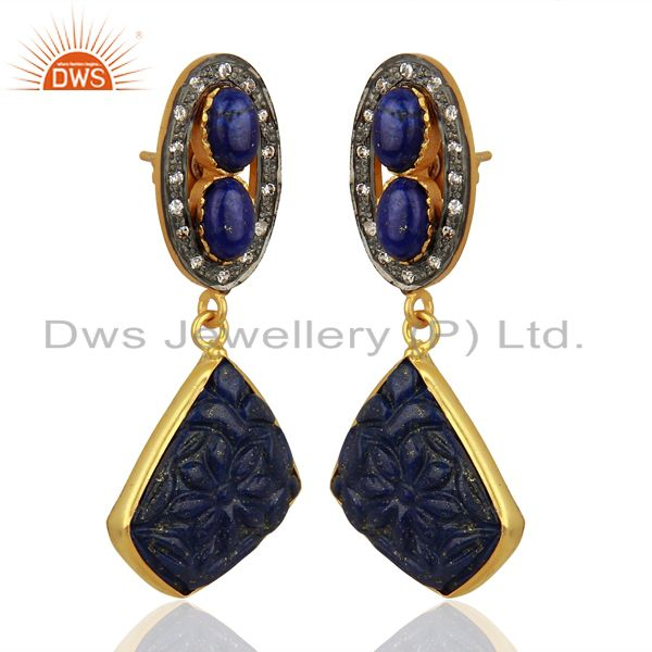 Exporter Lapis Lazuli CZ Dangle 18K Gold Plated Brass Designer Earrings Jewelry