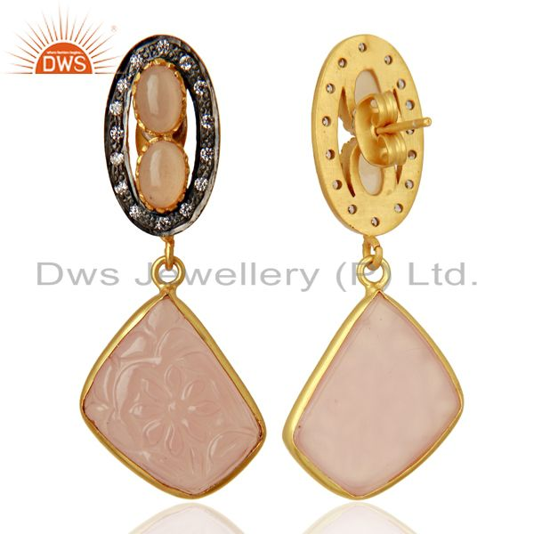 Exporter Rose Chalcedony CZ Dangle 18K Gold Plated Brass Designer Earrings Jewelry