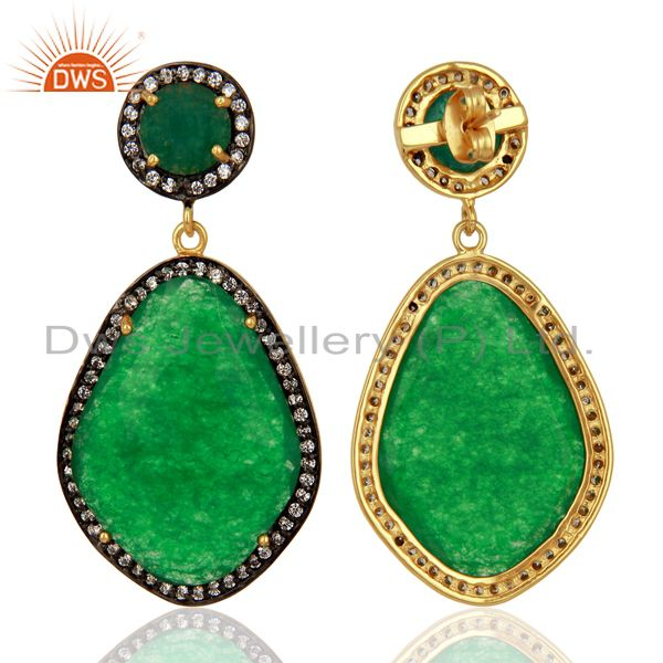 Exporter Green Aventurine Gemstone Cubic Zirconia Border 18K Gold Plated Brass Jewellery