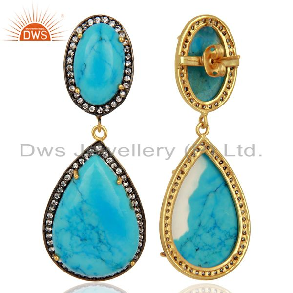 Exporter Turquoise Gemstone Cubic Zirconia Border 18K Gold Plated Teardrop Earring