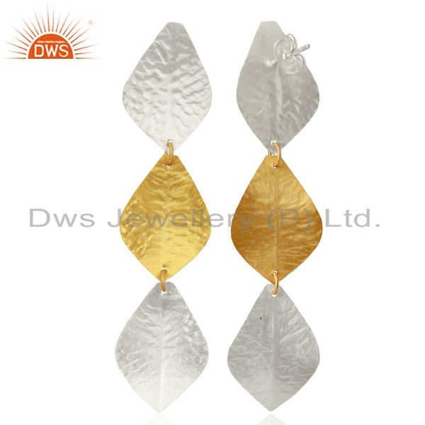 Exporter Textured Leaf Design Brass Fashion Earrings Jewelry Wholesale Supplier