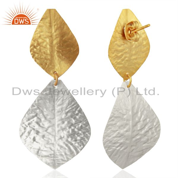 Exporter Leaf Design Brass Textured Fashion Earrings Jewelry Manufacturer
