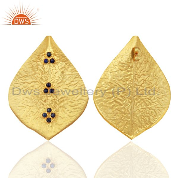 Exporter Textured Gold Plated Natural Lapis Gemstone Fashion Stud Earrings