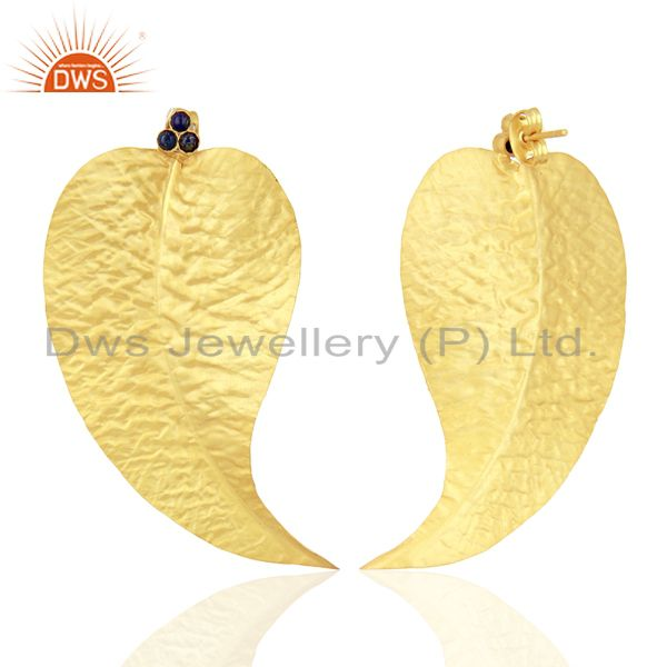 Exporter Lapis Gemstone Textured Gold Plated Earrings Jewelry Supplier