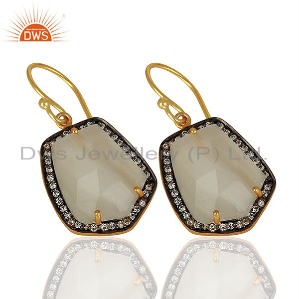 Exporter Handmade Gold Plated white Moonstone Cz Gemstone Earrings Jewelry
