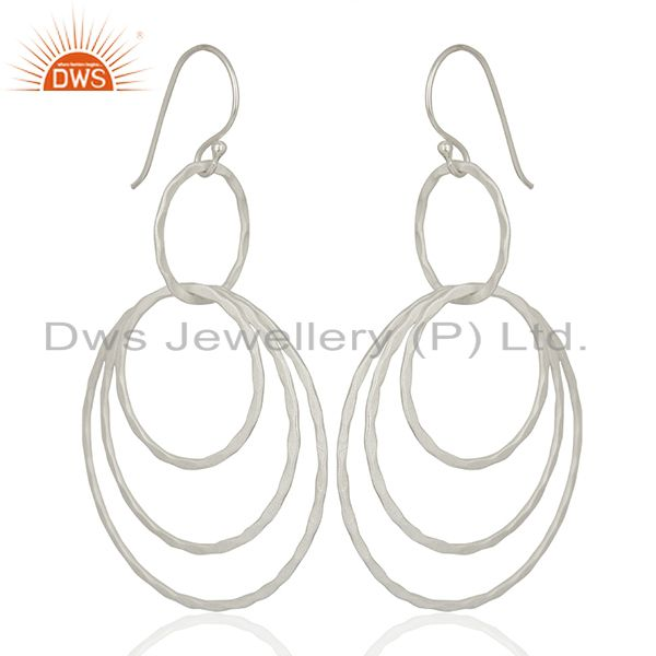 Exporter New Arrival Silver Plated Brass Fshion Earrings Jewelry Wholesale