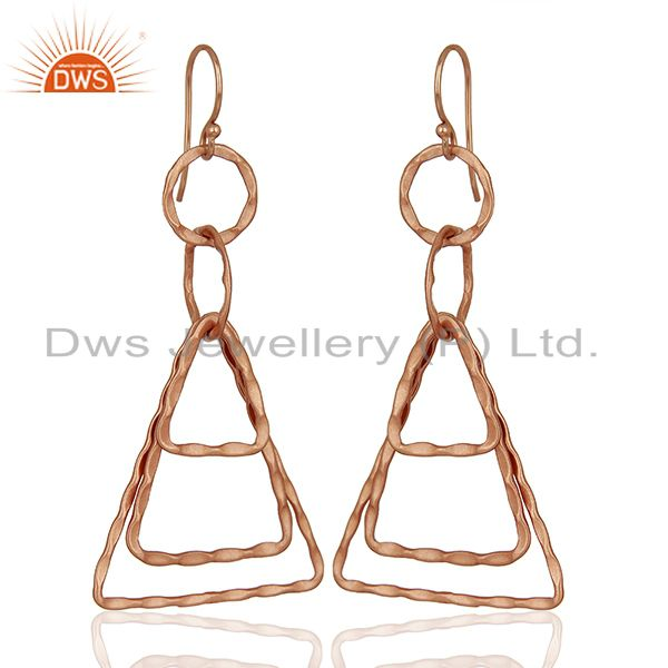 Exporter Designer Rose Gold Plated Brass Fashion Earrings Jewelry Supplier