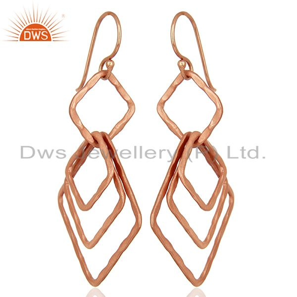 Exporter Handmade Rose Gold Plated Fashion Girls Earrings Supplier Jewelry