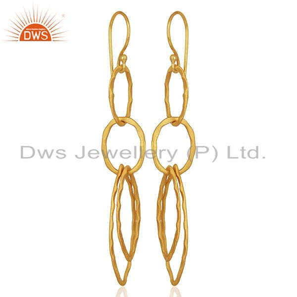 Exporter Yellow Gold Plated Designer Girls Fashion Earring Jewelry Manufacturer