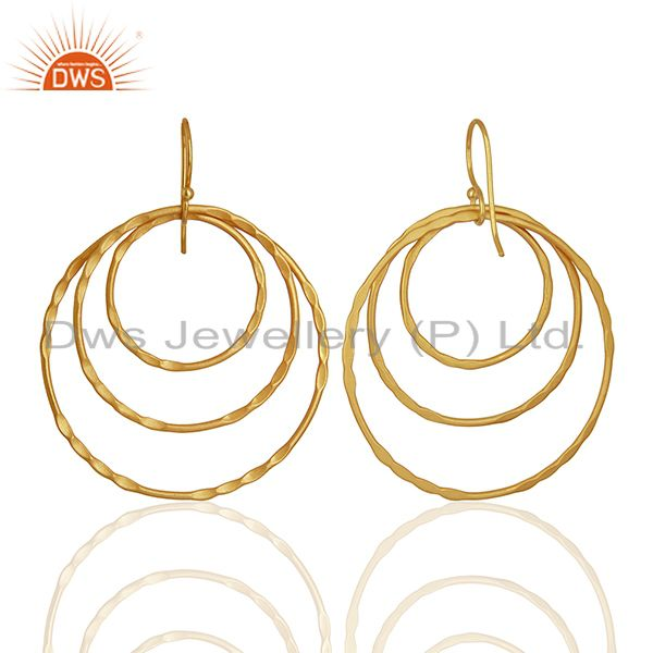 Exporter Yellow Gold Plated Brass Fashion Earrings Jewelry Manufacturer