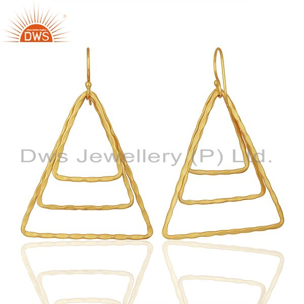 Exporter Triangle Shape Gold Plated Brass Fashion Earrings Jewelry Supplier