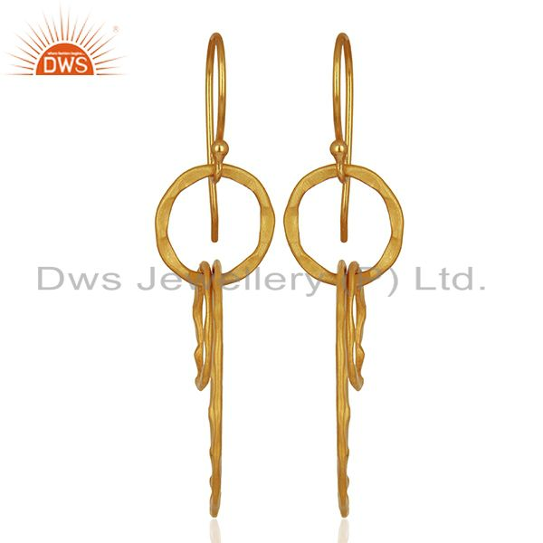 Exporter New Arrival Gold Plated Brass Designer Fashion Earrings Supplier