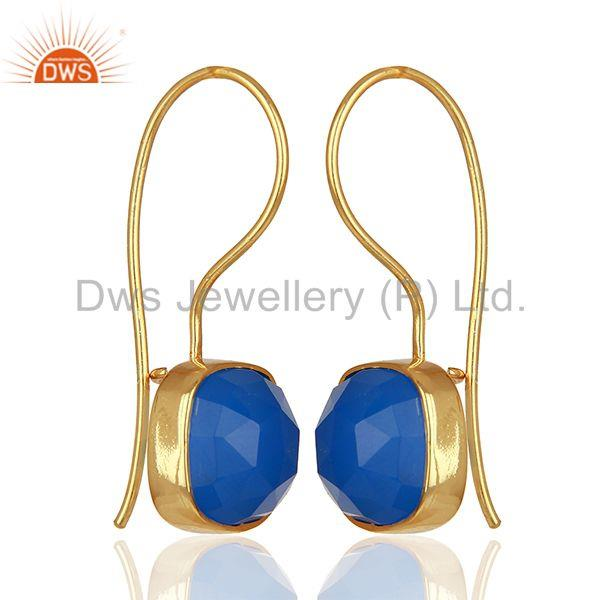 Exporter Blue Gemstone Gold Plated Brass Fashion Earrings Manufacturer India