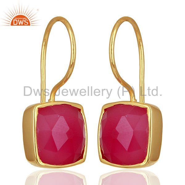 Exporter Pink Chalcedony Gemstone Girls Gold Plated Silver Earrings Supplier