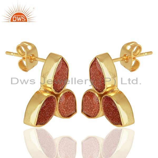 Exporter Sun Stone Gold Plated Brass Fashion Stud Earrings Manufacturer