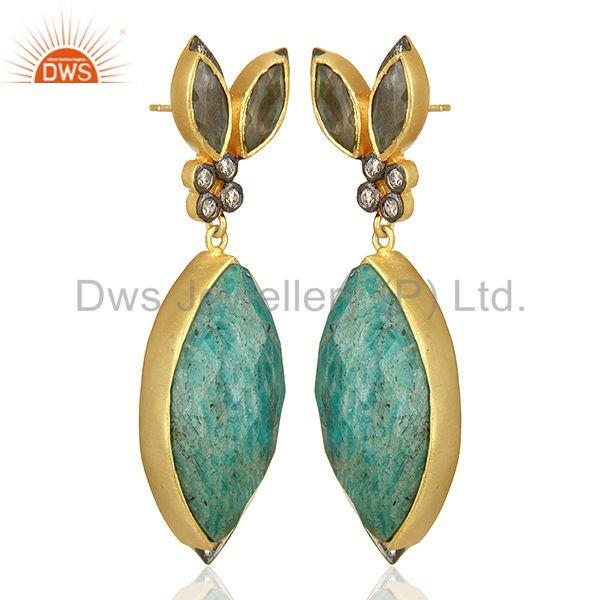 Exporter Multi Gemstone Sterling Silver Gold Plated Fashion Earrings Supplier